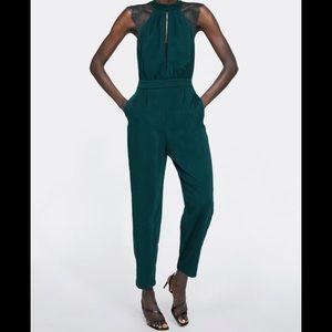 Zara Hunter Green Contrast Lace Jumpsuit 0594/053